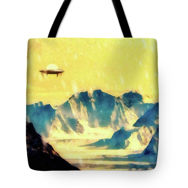 Ufo Over Snowy Mountains Tote Bag
