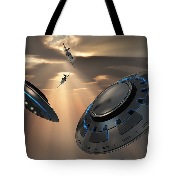 Ufos And Fighter Planes In The Skies Tote Bag by Mark Stevenson