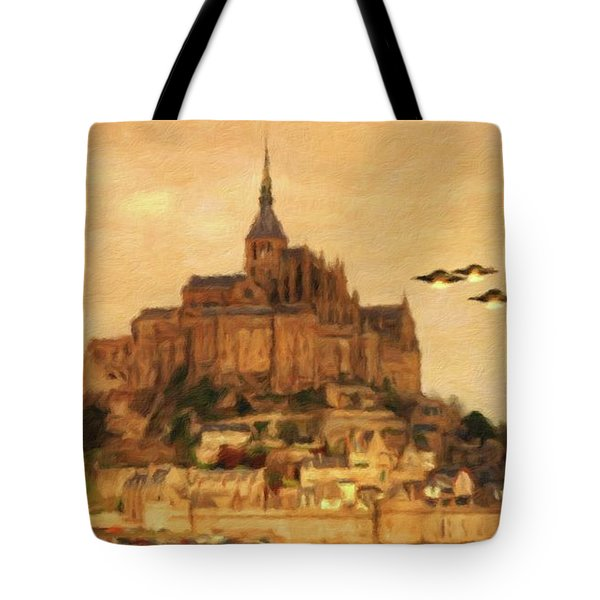 Ufos Over St. Muchael's Mount By Raphael Terra And Mary Bassett Tote Bag
