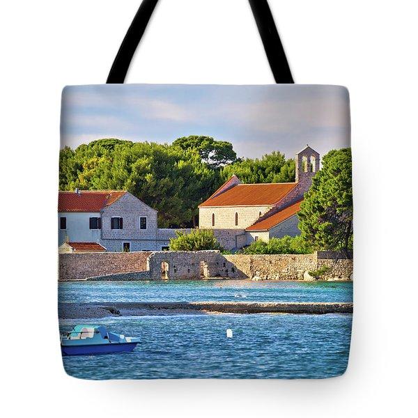 Ugljan Island Village Old Church And Beach View Tote Bag
