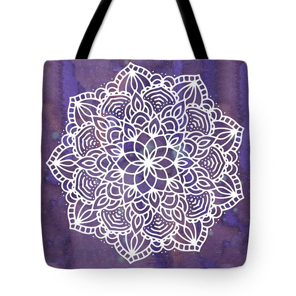 Tote Bag featuring the digital art Ultraviolet Mandala by Bee-Bee Deigner