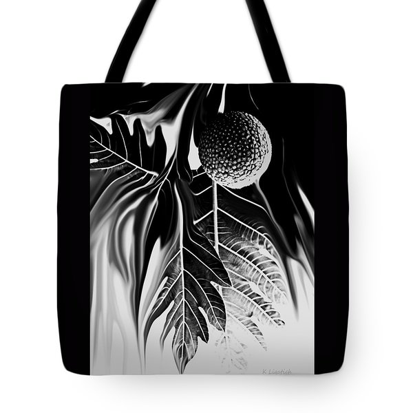 Tote Bag featuring the digital art Ulu - Breadfruit Abstract by Kerri Ligatich