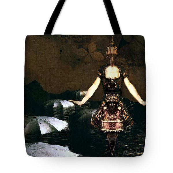 Tote Bag featuring the digital art Umbrella Dance by Delight Worthyn