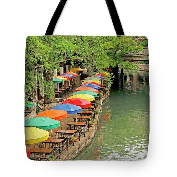 Tote Bag featuring the photograph Umbrellas Along River Walk - San Antonio by Art Block Collections