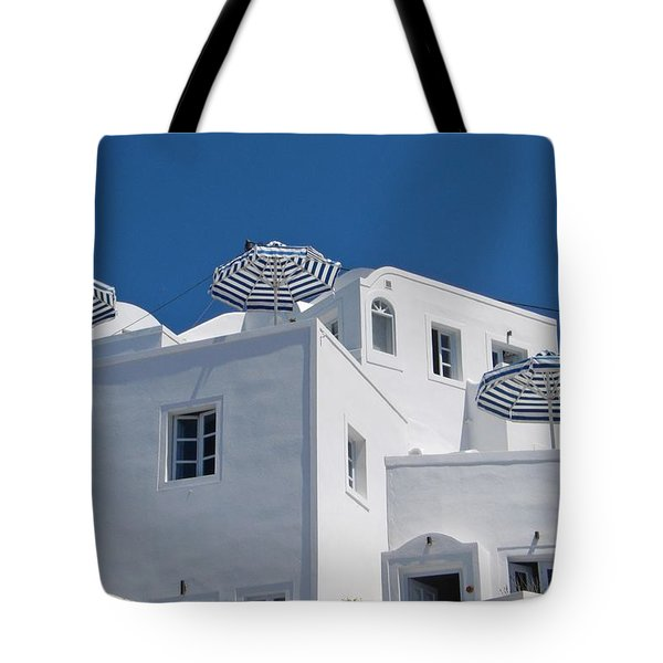 Umbrellas - Santorini, Greece Tote Bag