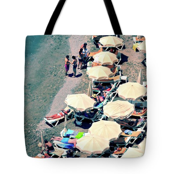 Tote Bag featuring the photograph Umbrellas On The Beach - Nerja by Mary Machare