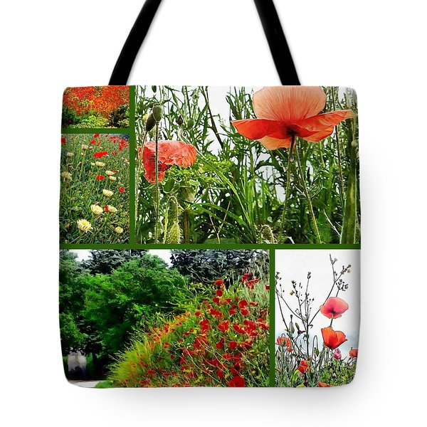 Umbrian Red Poppy Collage Tote Bag