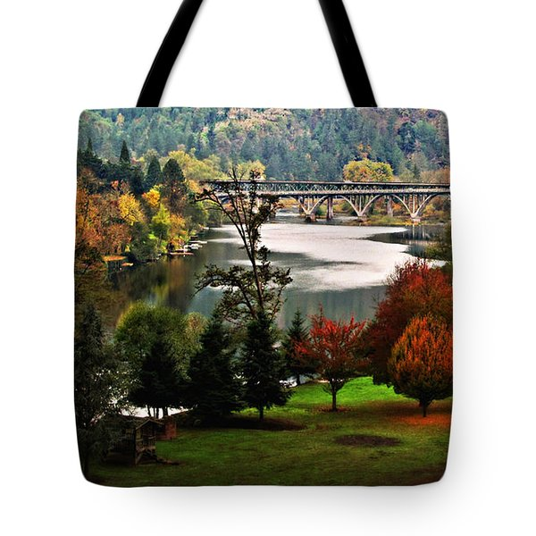 Umpqua Bridge In The Fall Tote Bag by Katie Wing Vigil
