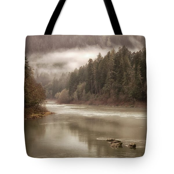 Umpqua River Fog Tote Bag