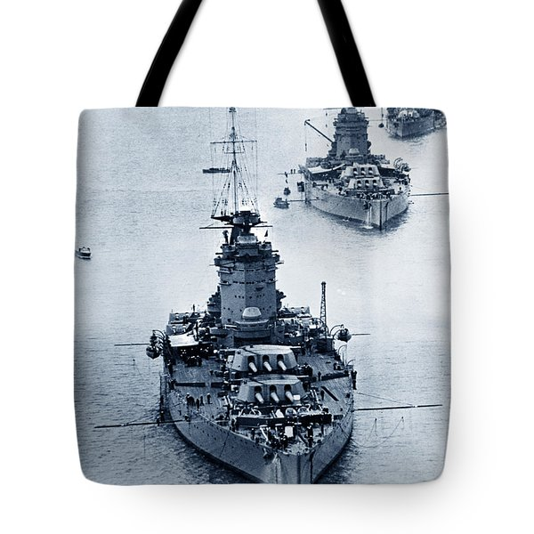 Hms Nelson And Hms Rodney Battleships And Battlecruisers Hms Hood Circa 1941 Tote Bag