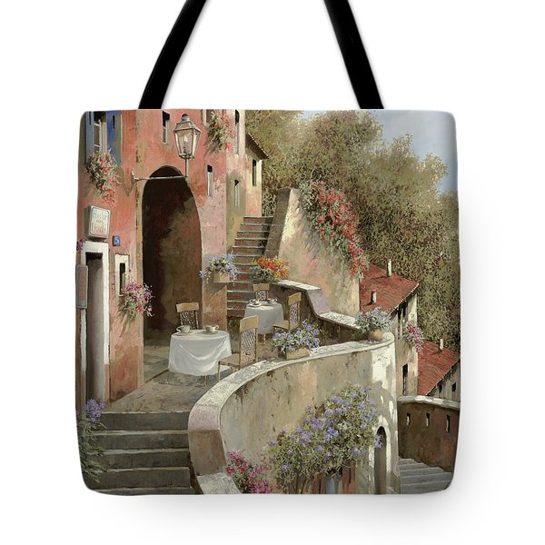 Tote Bag featuring the painting Un Caffe Al Fresco Sulla Salita by Guido Borelli