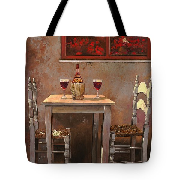 Tote Bag featuring the painting un fiasco di Chianti by Guido Borelli
