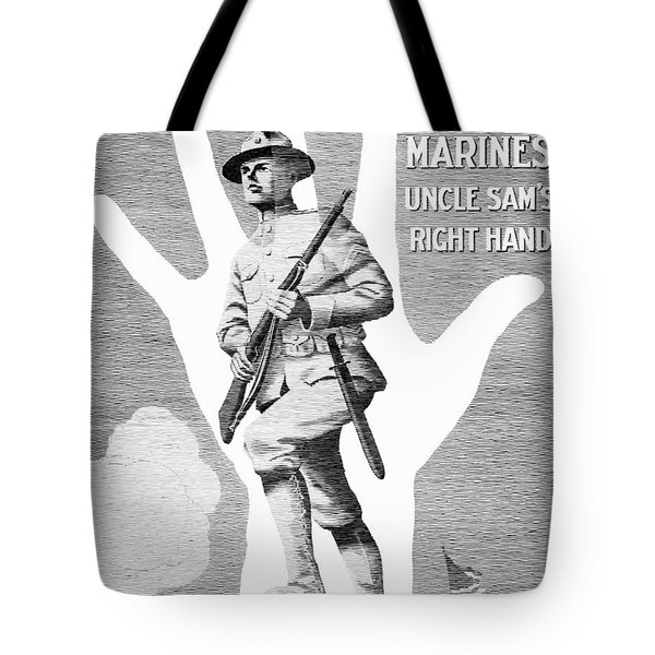 Uncle Sam's Right Hand - Us Marines Tote Bag