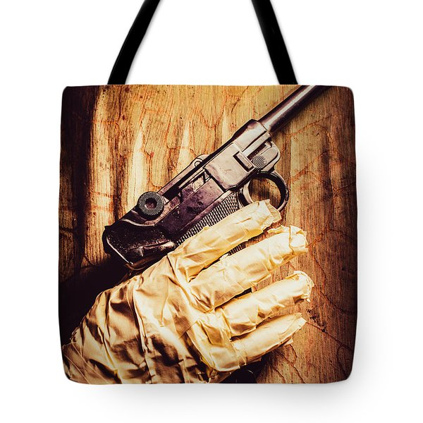 Undead Mummy  Holding Handgun Against Wooden Wall Tote Bag