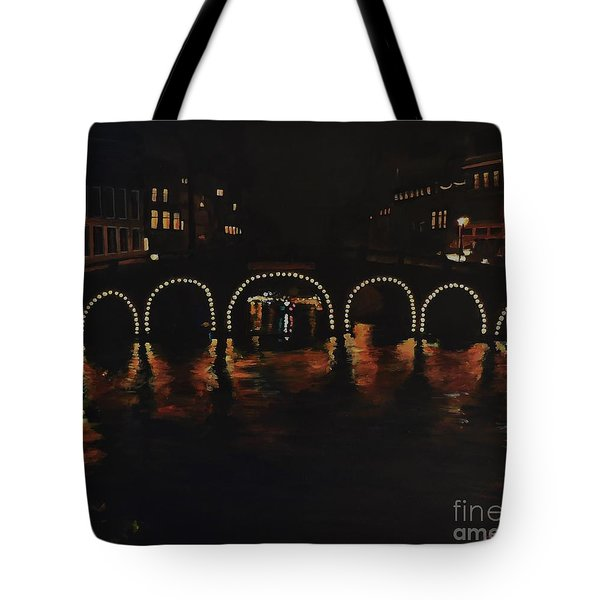 Under A Lighted Bridge In Amsterdam Tote Bag
