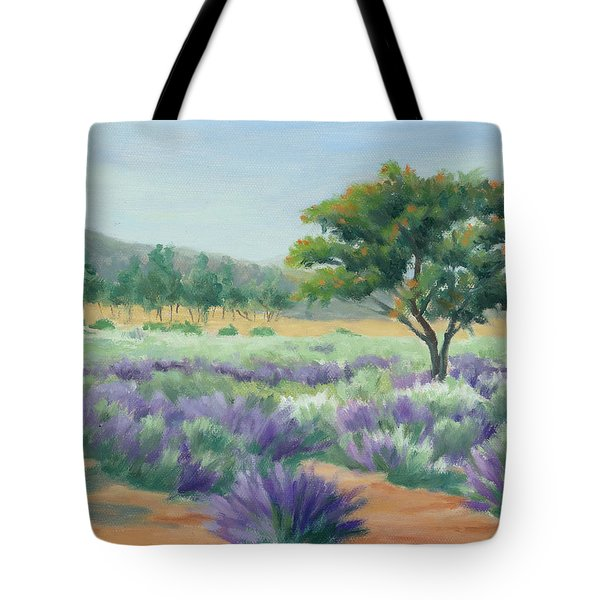 Under Blue Skies In Lavender Fields Tote Bag by Sandy Fisher