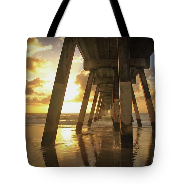 Tote Bag featuring the photograph Under Johnny Mercer Pier At Sunrise by Phil Mancuso