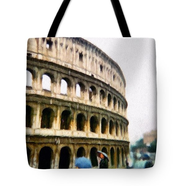 Tote Bag featuring the painting Under Pale Blue Umbrellas by Jeffrey Kolker
