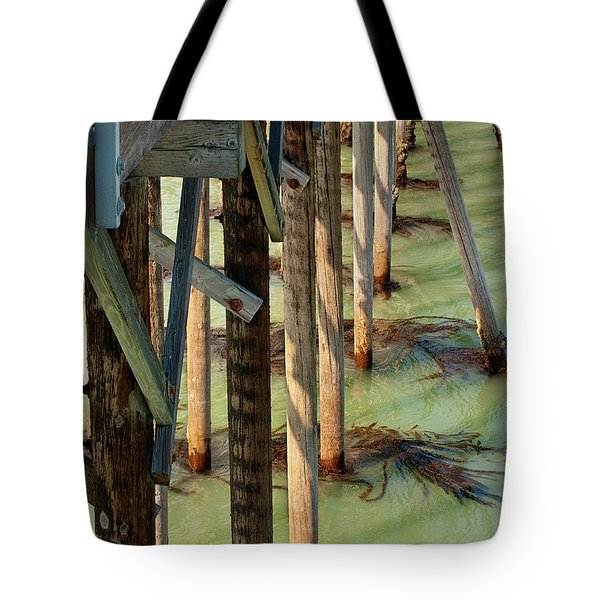 Tote Bag featuring the photograph Under San Simeon Pier by Art Block Collections