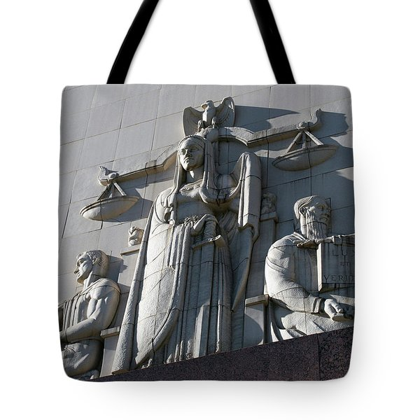 Under Scales Of Justice Tote Bag