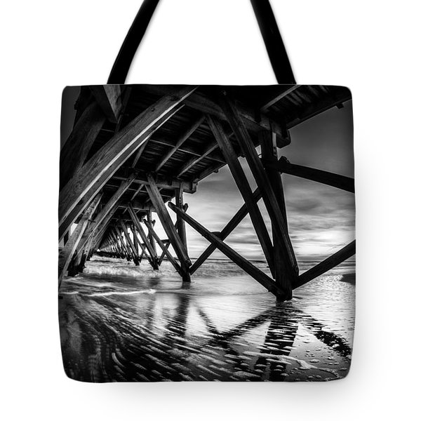 Under Sea Cabin Pier At Sunset Tote Bag