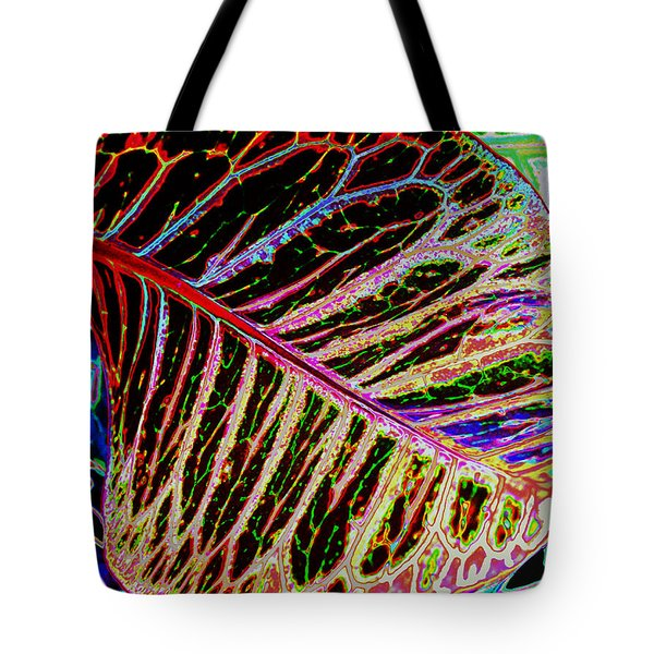 Tote Bag featuring the photograph Under The Croton Leaf by Kate Word