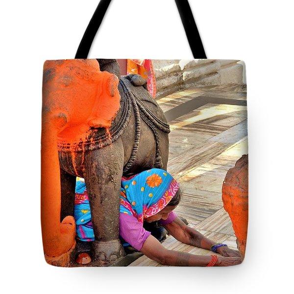 Under The Elephant - Narmada Temple At Arkantak India Tote Bag