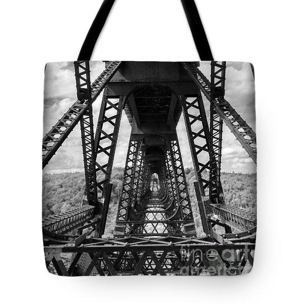 Under The Kinzua Bridge In Black And White Tote Bag