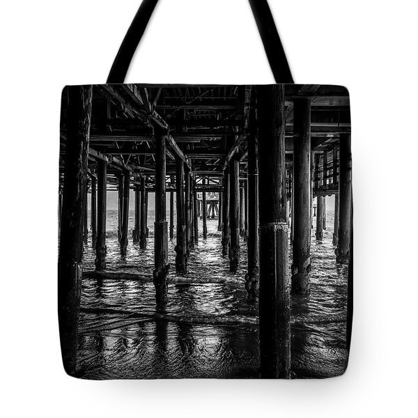 Under The Pier - Black And White Tote Bag