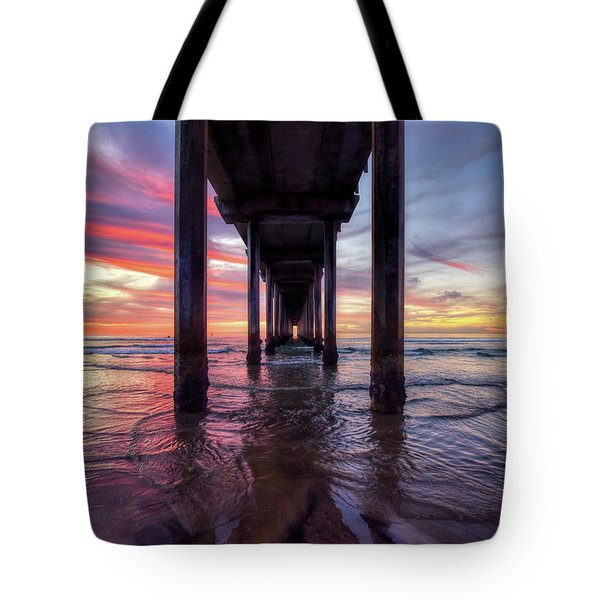 Under The Pier Sunset Tote Bag