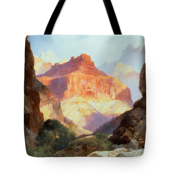 Under The Red Wall Tote Bag by Thomas Moran