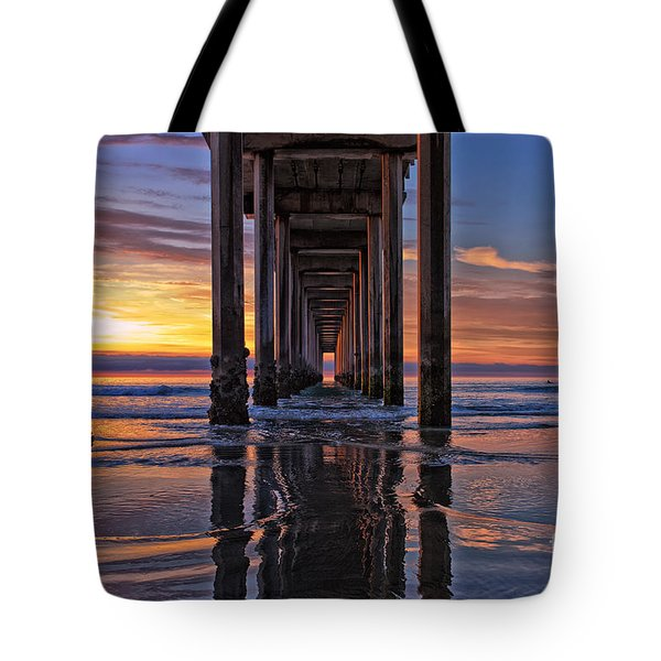 Under The Scripps Pier Tote Bag by Sam Antonio Photography