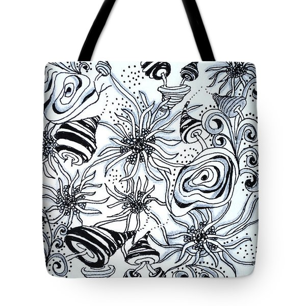Tote Bag featuring the drawing Under The Sea by Carole Brecht