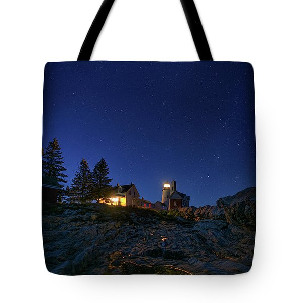 Under The Stars At Pemaquid Point Tote Bag by Rick Berk
