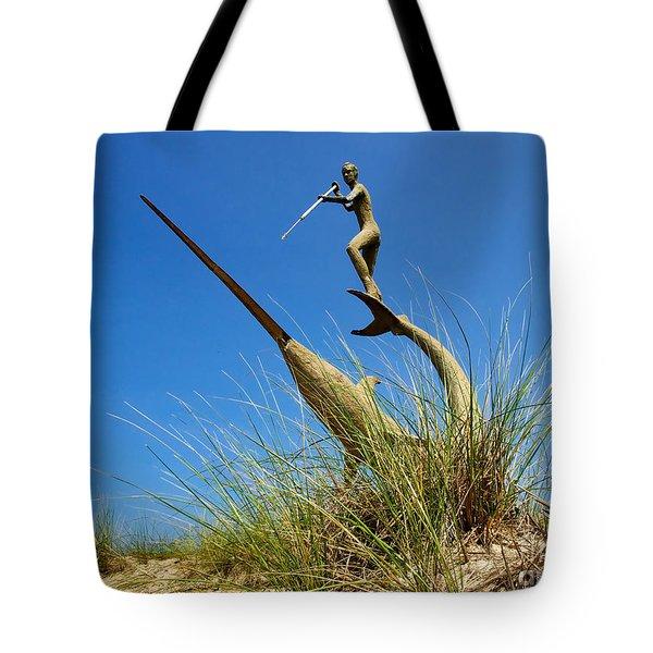 Under The Swordfish Harpooner Of Menemsha Tote Bag by Mark Miller
