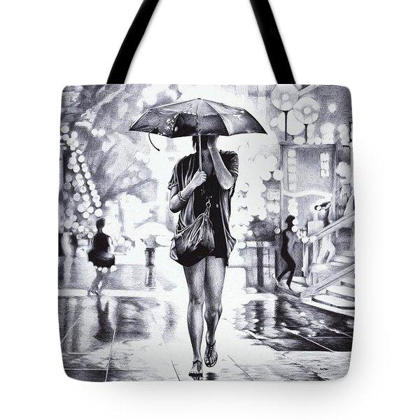 Under The Umbrella - Ballpoint Pen Art Tote Bag