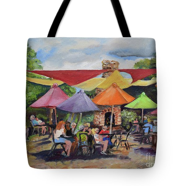 Tote Bag featuring the painting Under The Umbrellas At The Cartecay Vineyard - Crush Festival  by Jan Dappen