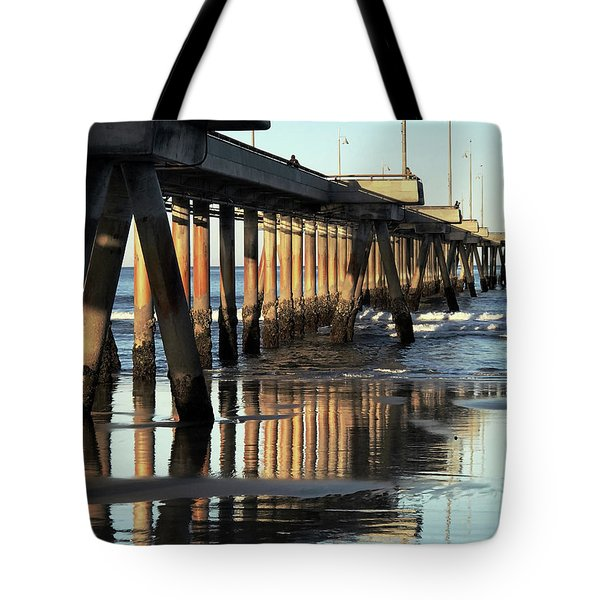 Tote Bag featuring the photograph Under The Venice Beach Pier by Art Block Collections