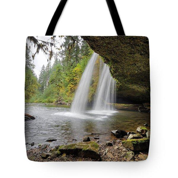 Under Upper Butte Creek Falls In Autumn Tote Bag by David Gn