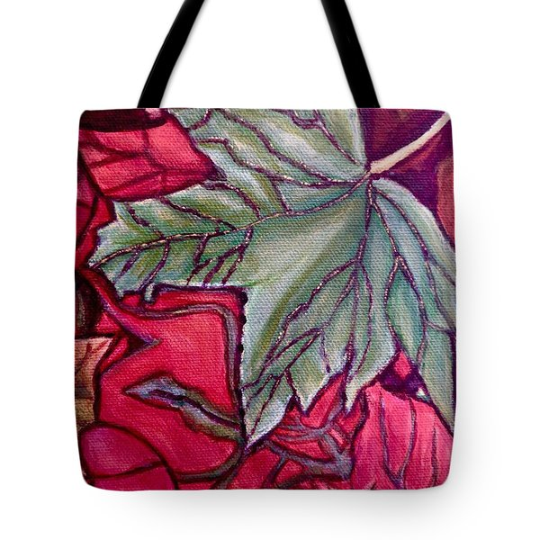 Tote Bag featuring the painting Understudy Of A Fallen Green Maple Leaf In The Fall by Kimberlee Baxter