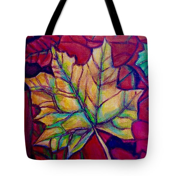 Tote Bag featuring the painting Understudy Of A Turning Maple Leaf In The Fall by Kimberlee Baxter