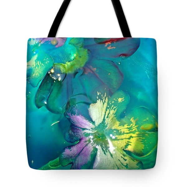 Underwater Flower Abstraction 3 Tote Bag by Lorella Schoales