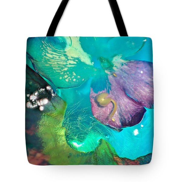 Underwater Flower Abstraction 4 Tote Bag by Lorella Schoales