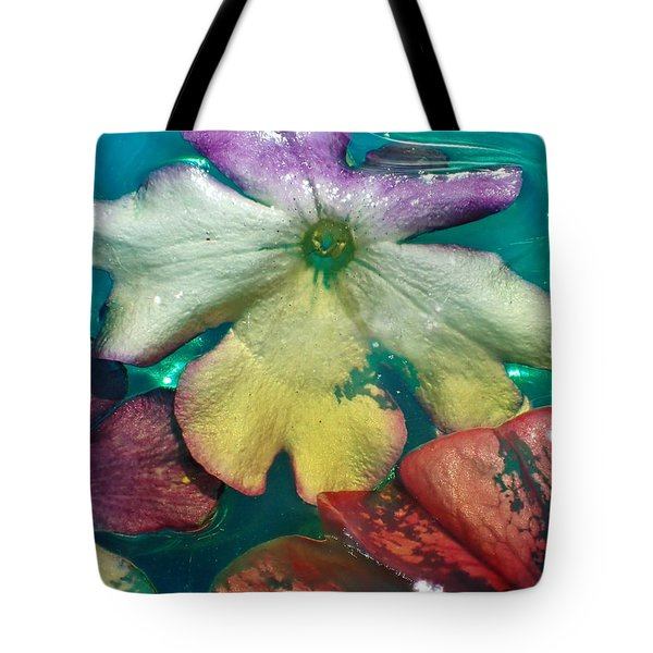 Underwater Flower Abstraction 5 Tote Bag by Lorella Schoales
