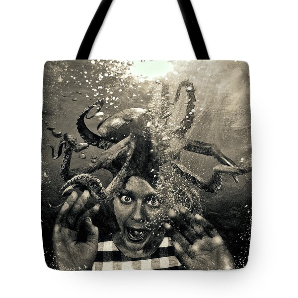 Underwater Nightmare Black And White Tote Bag