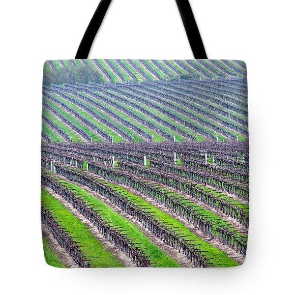 Undulating Vineyard Rows Tote Bag by Jeff Lowe
