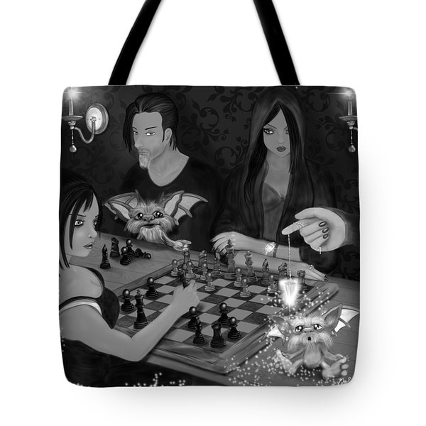 Unexpected Company - Black And White Fantasy Art Tote Bag