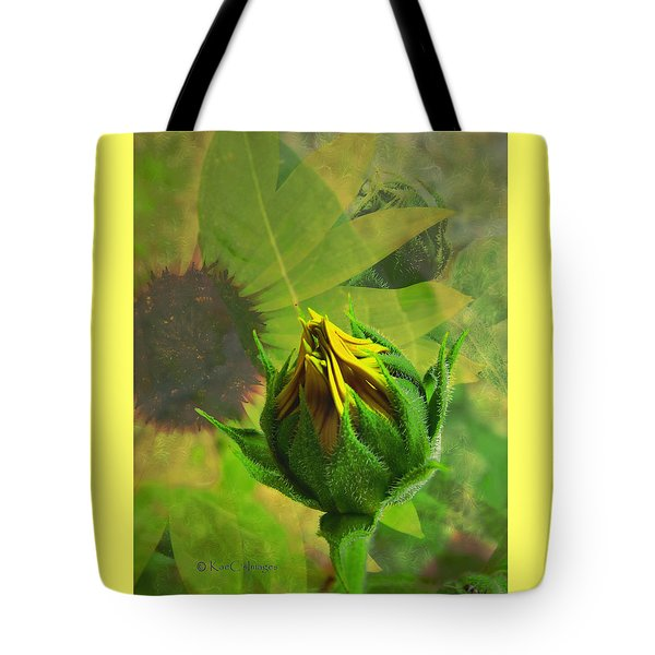 Unfolding Sunflower Tote Bag