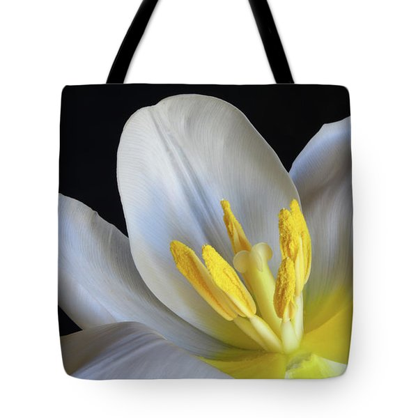 Tote Bag featuring the photograph Unfolding Tulip. by Terence Davis