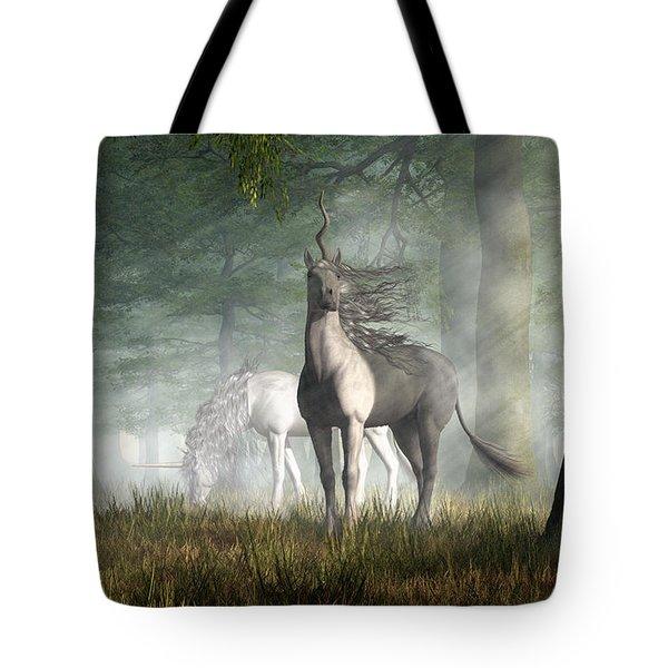 Tote Bag featuring the digital art Unicorn by Daniel Eskridge